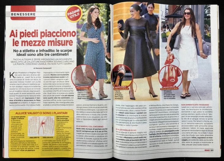 Articolo rivista Oggi - Scarpe estive e benessere piedi